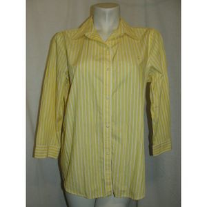 CHAPS Yellow White Stripe Button 3/4 Slv Shirt L